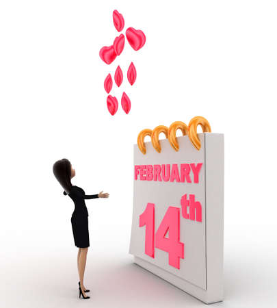 february 14th: 3d woman with 14th february valentine days and pink hearts concept on white background, side angle view