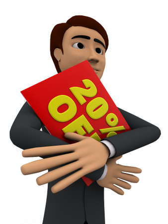 three dimensions: 3d man holding red 20 percentage off board concept on white bakcground, close angle view