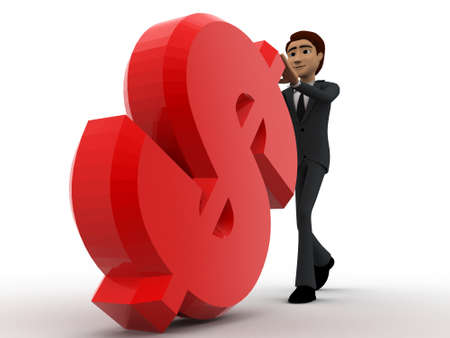 3 dimensions: 3d man pushing red dollar symbol concept on white bakcground, front angle view