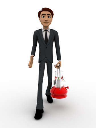 red lantern: 3d man walking with red lantern concept on white bakcground,  front angle view Stock Photo