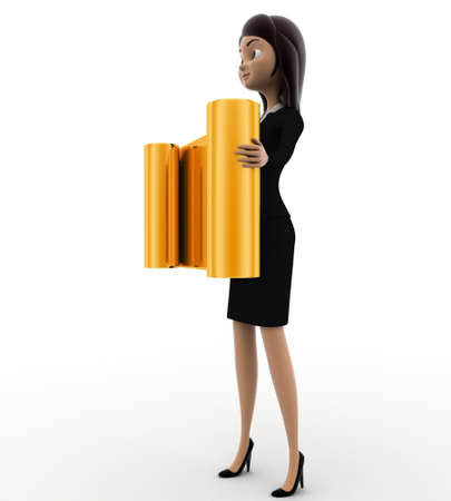 golden hair: 3d woman holding golden scroll in hand concept on white background, side angle view Stock Photo