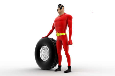 three dimensions: 3d superhero with tire of vehicle concept on white background,  side angle view