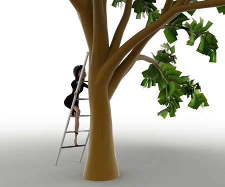3 dimensions: 3d woman climb ladder to tree concept on white background, front angle view