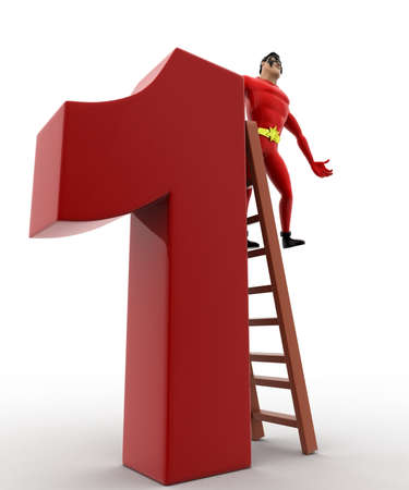 three dimensions: 3d superhero climb number 1 concept on white background,  low angle view