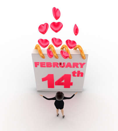 14th: 3d woman with 14th february valentine days and pink hearts concept on white background, top angle view