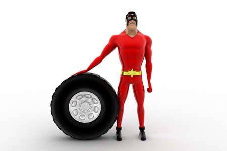 three dimensions: 3d superhero with tire of vehicle concept on white background, front angle view