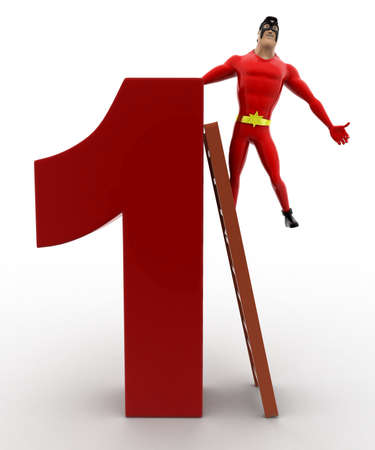 three dimensions: 3d superhero climb number 1 concept on white background, front angle view