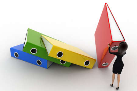 arrange: 3d woman arrange big colouful files concept on white background, top angle view Stock Photo