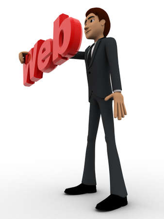 web side: 3d man holding red WEB text in hand concept on white bakcground, side angle view Stock Photo