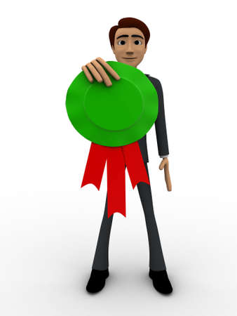 3 dimensions: 3d man holding green award medal in hand concept on white bakcground, front angle view