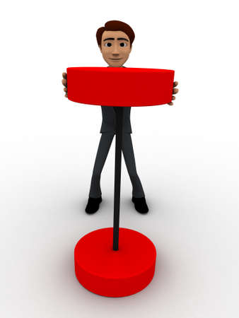 try: 3d man try to lift red heavy weight dumbell concept on white bakcground, front angle view