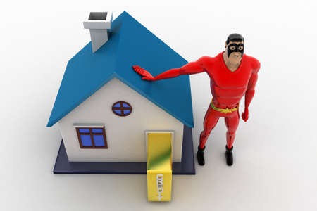 three dimensions: 3d superhero with house model and golden bag concept on white background, top angle view