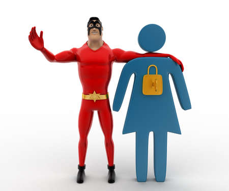 3 dimensions: 3d superhero with locked iconic woman concept on white background, front angle view