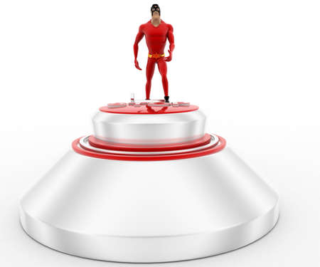 button front: 3d superhero climb STOP button using ladder concept on white background, front angle view Stock Photo