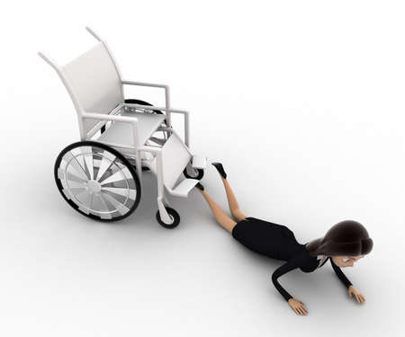 anlge: 3d woman fall from wheel chair concept on white background,  top  anlge view