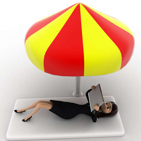 anlge: 3d woman working on laptop under resting under umrella concept on white background, top anlge view Stock Photo