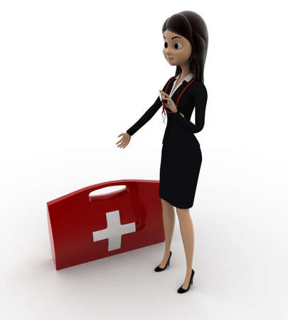 anlge: 3d woman with red medical kits concept on white background,  top anlge view Stock Photo