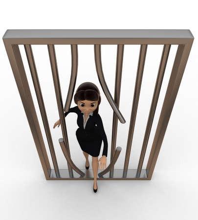 prison break: 3d women jail  prison break concept on white isolated background , top angle view
