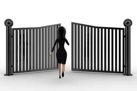 anlge: 3d woman running and try to escape from closing gates concept on white background,front  anlge view