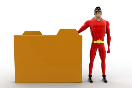 3 dimensions: 3d superhero present brown file folder concept on white background, front angle view Stock Photo