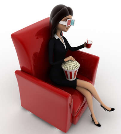 anlge: 3d woman watching 3d movie in cinema with pop corn bucket  on red sofa concept on white background, top anlge view