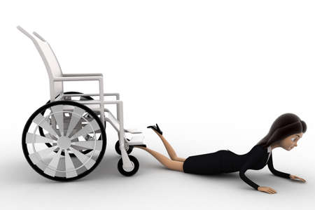 anlge: 3d woman fall from wheel chair concept on white background,  side anlge view Stock Photo