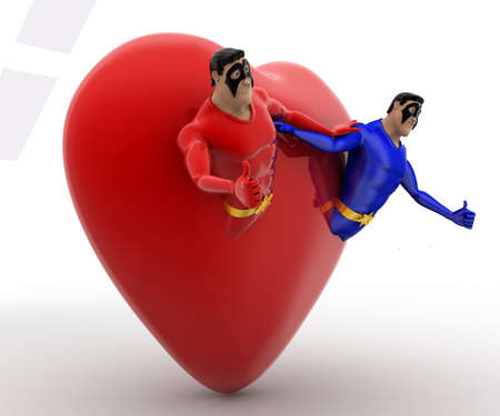 superheros: 3d two superheros come out of heart concept on white background, side angle view Stock Photo