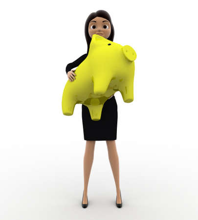 anlge: 3d woman holding yellow piggybank in hands concept on white background, front anlge view