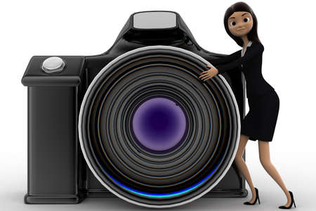 anlge: 3d woman with digital slr camera concept on white background, front anlge view