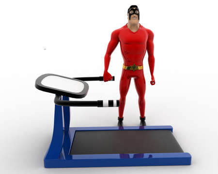 exercise machine: 3d superhero with running track machine for exercise concept on white background, front angle view