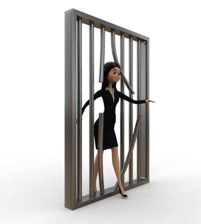 prison break: 3d women jail  prison break concept on white isolated background , side angle view Stock Photo