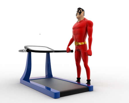 exercise machine: 3d superhero with running track machine for exercise concept on white background, side angle view