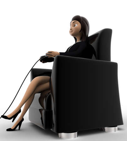 anlge: 3d woman sitting on sofa and playing video game with joy stick concept on white background, side anlge view