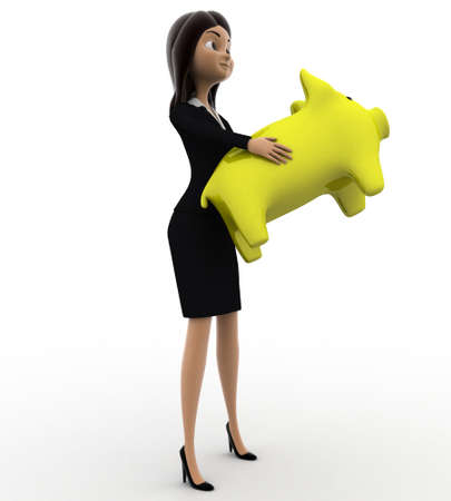 anlge: 3d woman holding yellow piggybank in hands concept on white background,  side anlge view Stock Photo