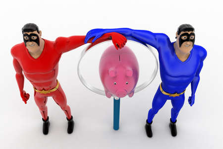 superheros: 3d two superheros with magnifying glass and piggybank concept on white background, top angle view