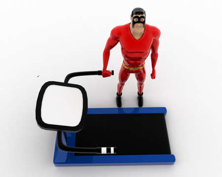 exercise machine: 3d superhero with running track machine for exercise concept on white background, top angle view Stock Photo