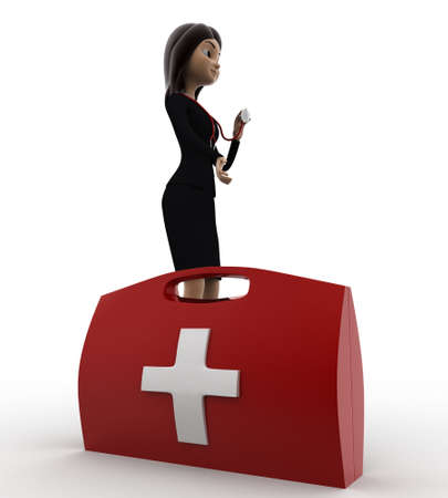anlge: 3d woman with red medical kits concept on white background, side anlge view
