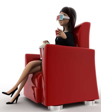 anlge: 3d woman watching 3d movie in cinema with pop corn bucket  on red sofa concept on white background, side anlge view