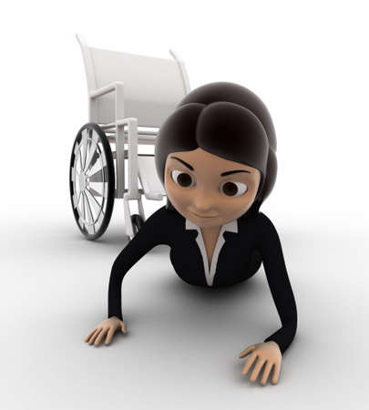 3 dimensions: 3d woman fall from wheel chair concept on white background, front anlge view Stock Photo