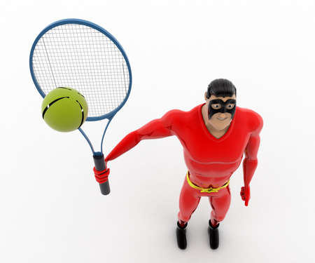top angle view: 3d superhero play tennis concept on white background, top angle view