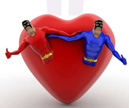 superheros: 3d two superheros come out of heart concept on white background, front  angle view