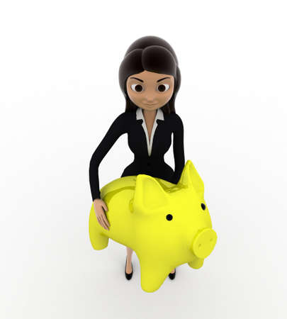 3 dimensions: 3d woman holding yellow piggybank in hands concept on white background, top anlge view