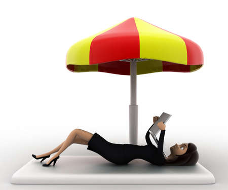 under view: 3d woman working on laptop under resting under umrella concept on white background, side anlge view