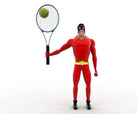 3 dimensions: 3d superhero play tennis concept on white background, front angle view