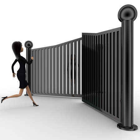 closing: 3d woman running and try to escape from closing gates concept on white background, side anlge view Stock Photo