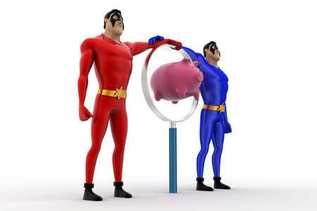 superheros: 3d two superheros with magnifying glass and piggybank concept on white background, side  angle view