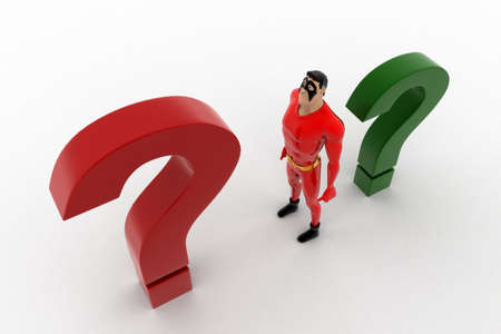 3 dimensions: 3d superhero with  red and green question mark concept on white background, top angle view