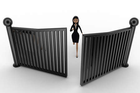 anlge: 3d woman running and try to escape from closing gates concept on white background, top anlge view