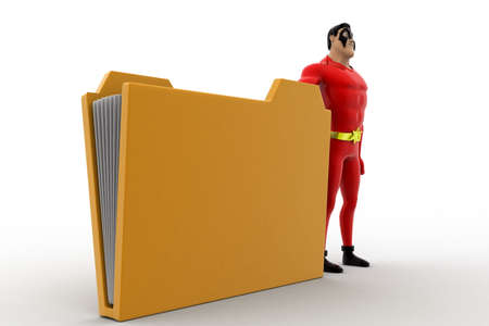 3 dimensions: 3d superhero present brown file folder concept on white background, side angle view