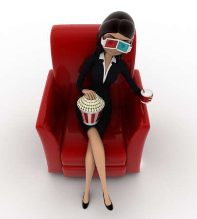 anlge: 3d woman watching 3d movie in cinema with pop corn bucket  on red sofa concept on white background, front anlge view Stock Photo